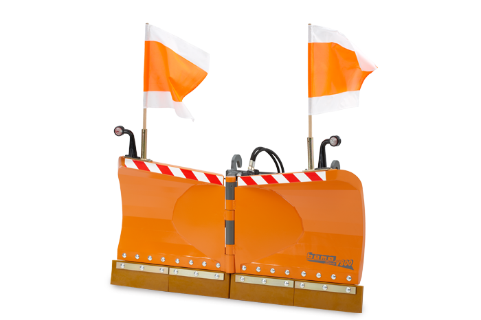 V snow plough with warning flags